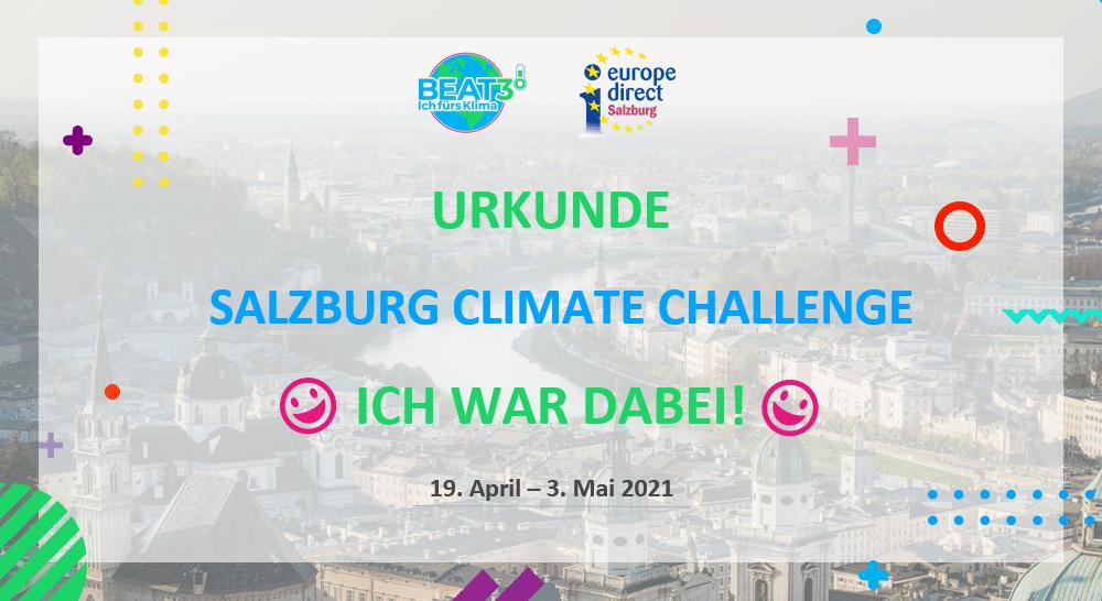 Salzburg Climate Challenge 1 Urkunde Salzburg